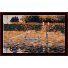 boats near beach at asnieres - seurat cross stitch pattern by cross stitch collectibles