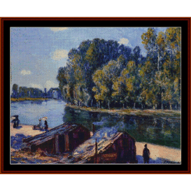 cabins along the loing 1896 - sisley cross stitch pattern by cross stitch collectibles