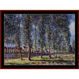 lane of poplars at moret - sisley cross stitch pattern by cross stitch collectibles