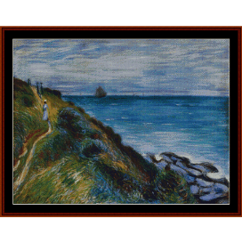on the cliffs, langland bay wales - sisley cross stitch pattern by cross stitch collectibles