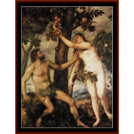 the fall of man - titian cross stitch pattern by cross stitch collectibles