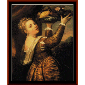 girl with basket of fruit - titian cross stitch pattern by cross stitch collectibles