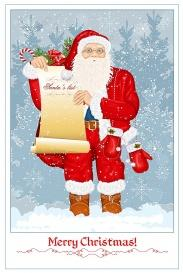 vectorlib rf (standard license): santa claus with santa's list and big sack with presents on snow background. vector illust...