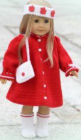 dollknittingpatterns - 0095d turid - dress, pants, shoes, hairband, shoulder bag and socks