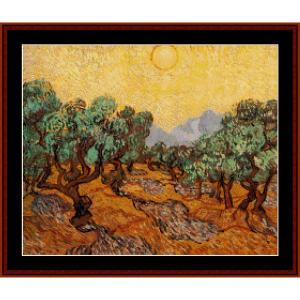 olive trees - van gogh cross stitch pattern by cross stitch collectibles