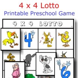 4 x 4 lotto printable game