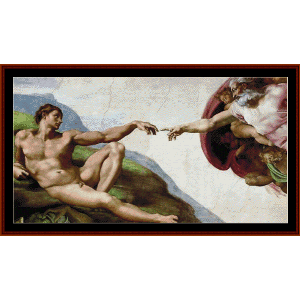 creation of adam - michelangelo cross stitch pattern by cross stitch collectibles