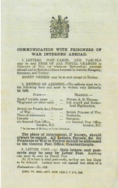 communication with prisoners of war interned abroad.
