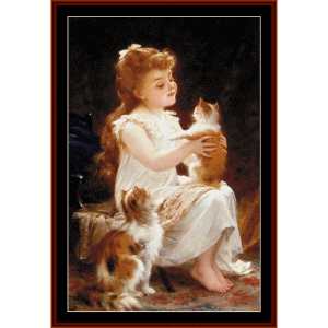 playing with kitty - emile munier cross stitch pattern by cross stitch collectibles