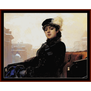 portrait of a woman - kramskoy cross stitch pattern by cross stitch collectibles