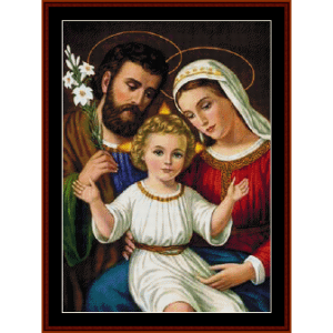 the holy family - religious cross stitch pattern by cross stitch collectibles