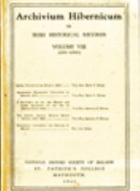 archivium hibernicum volume viii