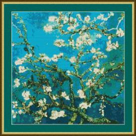 blue blossoms cross stitch
