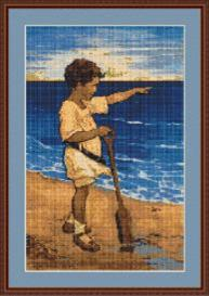 boy on the beach cross stitch