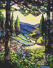 cedars stained glass cross stitch