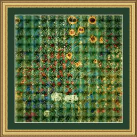 farm garden with sunflowers cross stitch pattern