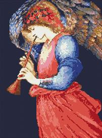 angel with flute cross stitch pattern