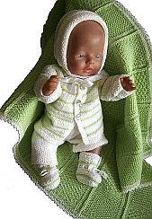 dollknittingpattern 0004d christina - cardigan, bonnet, romper,  socks and blanket