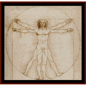 vitruvian man - davinci cross stitch pattern by cross stitch collectibles