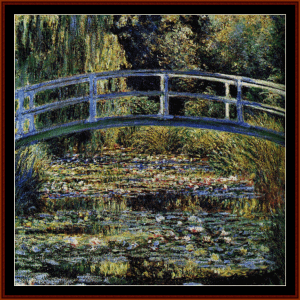 waterlily pond - monet cross stitch pattern by cross stitch collectibles
