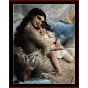mother and daughter - emile munier cross stitch pattern by cross stitch collectibles