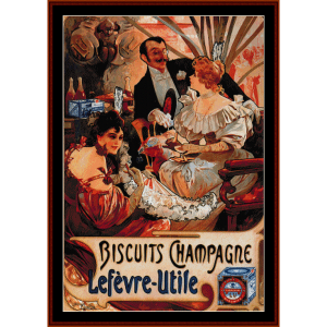 biscuits champagne 1896 - mucha cross stitch pattern by cross stitch collectibles