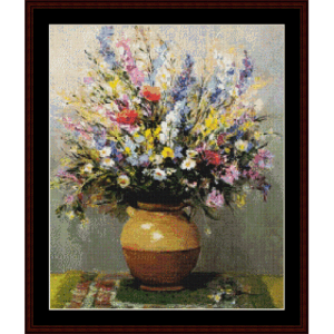 bouquet in sandstone - dyf cross stitch pattern by cross stitch collectibles