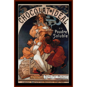 chocolate ideal - mucha cross stitch pattern by cross stitch collectibles