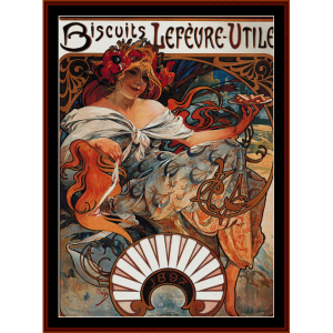 Biscuits Lefevre-Utile - Mucha cross stitch pattern by Cross Stitch Collectibles | Crafting | Cross-Stitch | Wall Hangings