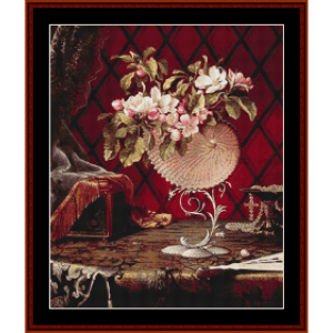 Still Life with Apple Blossoms - Heade cross stitch pattern by Cross Stitch Collectibles | Crafting | Cross-Stitch | Wall Hangings