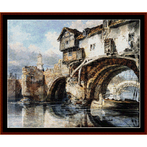 Bridge at Shrewsbury - Turner cross stitch pattern by Cross Stitch Collectibles | Crafting | Cross-Stitch | Wall Hangings