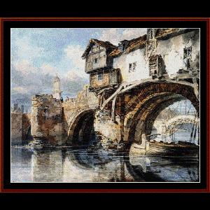 bridge at shrewsbury - turner cross stitch pattern by cross stitch collectibles