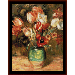 tulips in a vase - renoir cross stitch pattern by cross stitch collectibles