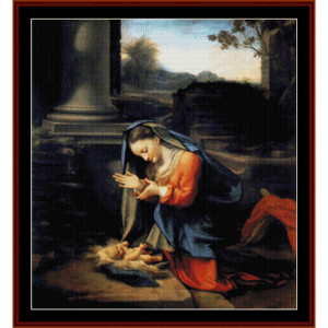 adoration of the child - correggio cross stitch pattern by cross stitch collectibles
