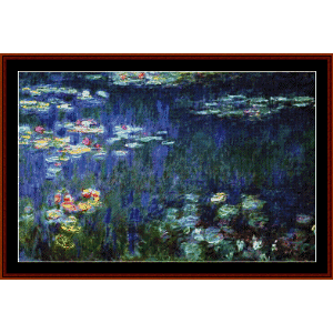 water lilies - monet cross stitch pattern by cross stitch collectibles