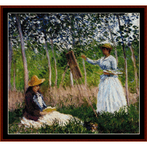 in the woods - monet cross stitch pattern by cross stitch collectibles