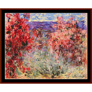 flowering trees near the coast - monet cross stitch pattern by cross stitch collectibles