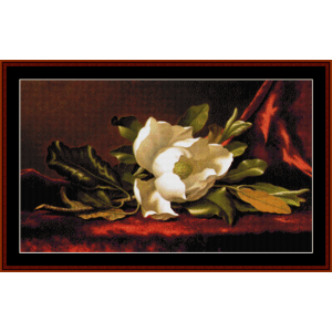 magnolia flower - heade cross stitch pattern by cross stitch collectibles