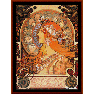 zodiac - mucha cross stitch pattern by cross stitch collectibles