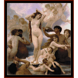 birth of venus - bouguereau cross stitch pattern by cross stitch collectibles