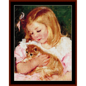 Sara Holding a Cat - Cassatt cross stitch pattern by Cross Stitch Collectibles | Crafting | Cross-Stitch | Wall Hangings