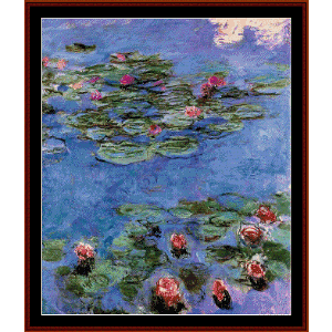 red waterlilies - monet cross stitch pattern by cross stitch collectibles