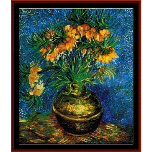 still life with frutillarias - van gogh cross stitch pattern by cross stitch collectibles