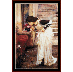 at the shrine - waterhouse cross stitch pattern by cross stitch collectibles