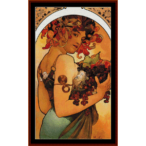 fruit 1897 - mucha cross stitch pattern by cross stitch collectibles
