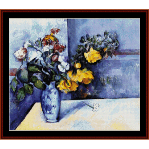 flowers in a vase - cezanne cross stitch pattern by cross stitch collectibles