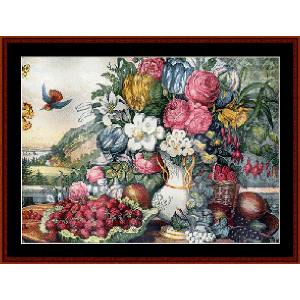 Fruits and Flowers - Currier & Ives cross stitch pattern by Cross Stitch Collectibles | Crafting | Cross-Stitch | Wall Hangings