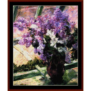 lilacs in a window - cassatt cross stitch pattern by cross stitch collectibles