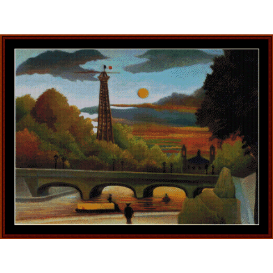 seine & eiffel tower in sunset - rousseau cross stitch pattern by cross stitch collectibles