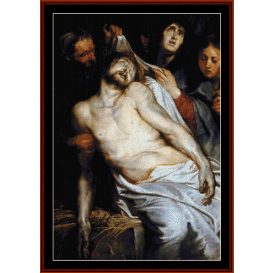 lamentation of christ on straw - rubens cross stitch pattern by cross stitch collectibles